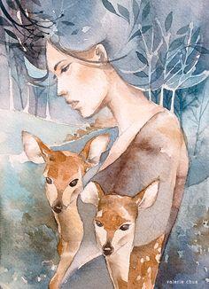 By Valerie Ann Chua Watercolor Figure Painting, Painting & Drawing, Watercolor Illustration, Watercolor Paintings, Watercolor Texture, Watercolor Portraits, Spirit Animal, Art Images, Cute Art