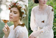 Claire Pettibone / Live butterflies: Swallowtail Farms - English Garden Inspiration by Stephanie Williams of This Modern Romance + Erica Elizabeth Designs - via greenweddingshoes