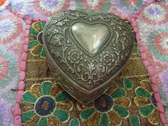 Vintage Pewter Heart Box from England with velvet lining, circa 1970. Buy it from TroppoBella on Etsy for $18.00. ~ETS *** SOLD & OFF TO EUROPE! <3 ***