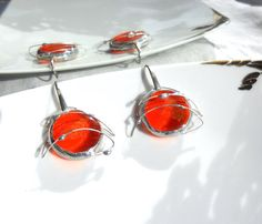 """Orange spatial earrings fused glass gems sterling by Dartisanglass  DISCOUNT """"RENEWAL 1"""" ALL JANUARY 30% OFF!!"""