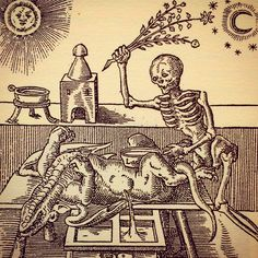 Woodcut from Theosophical view for Alchemy by Leonhardt Thurneysser zum Thurn, 1574 -- aka Things To Avoid In Your Bonisagan Experimentation Memento Mori, Alchemy, La Danse Macabre, Dance Of Death, Landsknecht, Occult Art, Mystique, Medieval Art, Medieval Tattoo