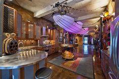 Steampunk interieur design ideen spüle küche beleuchtung