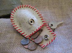 repurposed Leather baseball coin purse, repurposed baseball,