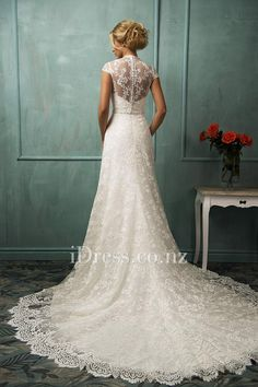 illusion cap sleeves a line with sweetheart bodice all over lace slim wedding dress with chapel train