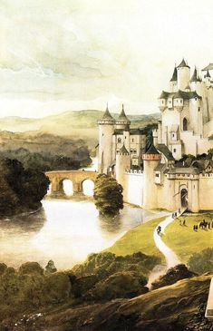 Siryl — A watercolor painting of Camelot by Alan Lee. Alan Lee, Fantasy Places, Fantasy World, Fantasy Art, King Arthur Legend, Legend Of King, Camelot Castle, Castle Painting, Roi Arthur