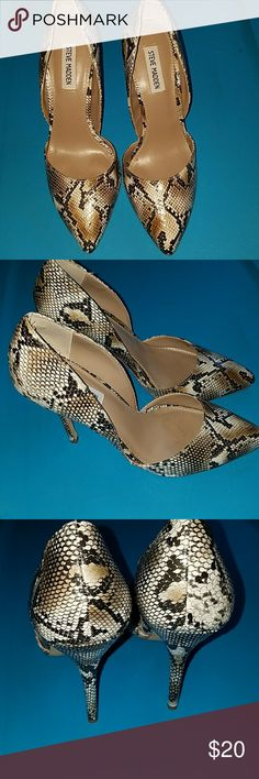 Steve Madden heels Super nice Steve Madden snakeprint detail pointed toe heels (Giddy d'Orsay pumps)..  Approx 3 1/2in heels. Great shape. Pre-loved.  Size 8 1/2. No scuffs, this shoe is so much cuter in person.   EUC! Steve Madden Shoes Heels
