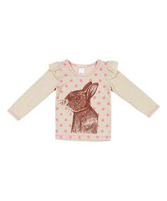 This Ivory & Brown Bunny Ruffle Tee - Infant, Toddler & Girls is perfect! #zulilyfinds