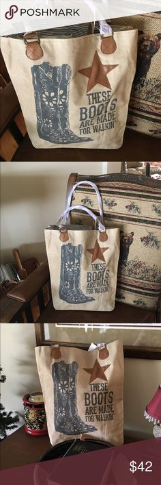 """💕 NEW ARRIVAL.........""""THESE BOOTS"""" MARKET BAG 💕 """"THESE BOOTS"""" tote bag is 12' L X 17' H X 5' D.  This market bag is handmade using soft stonewashec canvas and leather.  The bag features leather drop handles, two outside back pockets, and includes a ticking lining.  Bring out your inner cowgirl with this beautiful tote.  (GNG 1) Bags Totes"""
