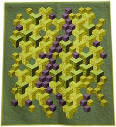 "Selvage Blog: Green Optical Illusion Quilt. ""Steppin' Out in the City"" by Claire Victor, Northern Star Quilters Guild 2012"