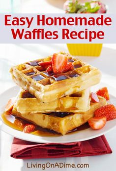 Try this yummy and easy homemade waffles recipe, with Dutch honey syrup, baked French toast, a brunch menu everyone will love and breakfast ideas to make it all easier! Breakfast Waffles, Breakfast Items, Breakfast Dishes, Breakfast Recipes, Avacado Breakfast, Fodmap Breakfast, Breakfast Catering, Eggo Waffles, Pancake Recipes