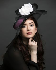 Black and white polka dot boater with wide sheer crib brim, pink silk ribbon and white hand formed silk rose. www.liftedmillinery.com Boater Hat, Wide-brim Hat, Silk Roses, Pink Silk, Bikini, Silk Ribbon, Headdress, Dots, Polka Dot