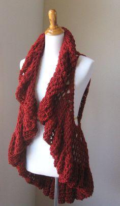 RED CROCHET VEST Hippie Crochet Vest Circle Vest by marianavail, $62.00