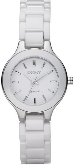 DKNY Watch, Women's White Ceramic Bracelet NY4886