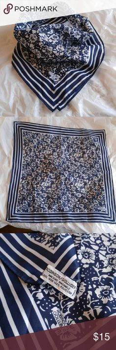 """Vintage floral scarf navy white Robinson Golluber This classy vintage scarf has a beautiful floral and stripe pattern in navy blue and white. 21"""" square. By Robinson Golluber. True vintage likely from 1970s. In really nice condition, like new! 100% polyester with a silky feel. Slight wrinkles from storage, light perfumey scent. From a smoke free home :)   POSHbSCARFA8188ROB888 Vintage Accessories Scarves & Wraps"""