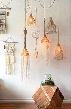 várias luminárias originais e criativas feitas de macramê - estilo boho chic