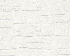 AS Creation Brick Effect White Blown Vinyl Textured Paintable Wallpaper 2040-42