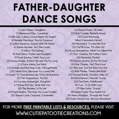 Father Daughter Dance Songs for Mitzvahs and Weddings - FREE.- Father Daughter Dance Songs for Mitzvahs and Weddings – FREE Printable List Father Daughter Dance Songs for Mitzvahs and Weddings – Top 40 Songs – FREE Printable List - Wedding Song List, Wedding Dance Songs, Wedding Playlist, Wedding Music, Country Wedding Songs, Music For Weddings, Songs For Wedding Ceremony, Wedding Processional Songs, Wedding Party Dance Songs