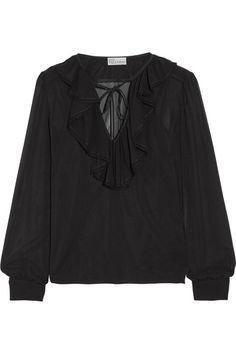 REDValentino - Ruffled Stretch-silk Chiffon Blouse - Black