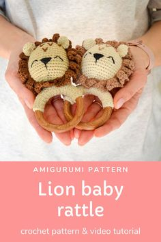 This amigurumi crochet pattern of cute lion baby rattle with teether ring will be a great baby shower gift, pregnancy gift for mom to be or birthday gift for the little ones in your life. *The size is perfect for little hands and helps baby to develop sensory awareness the hardness of the wood and the softness of the yarn. It will aid baby to develop it's fine motor skills. #crochetpattern #crochet #babyrattle Craft Projects For Kids, Diy For Kids, Cute Lion, Crochet Projects, Crochet Ideas, Pregnancy Gifts, Crochet Animal Patterns, Leo Zodiac, Baby Rattle