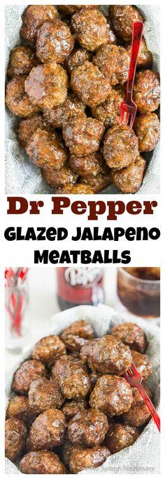 Dr Pepper Glazed Jalapeno Meatballs  #OneOfAKindFan #Ad
