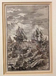 Antique 17thc Engraving Ships Description De L Univers MALLET c1683 Framed