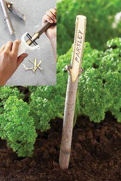 Natural DIY garden plant markers
