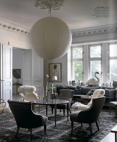 Magnus Marding / New York Times {gray and white vintage classic mid-century eclectic modern living room} by recent settlers, via Flickr