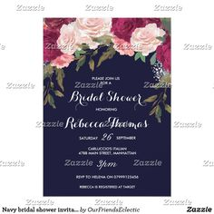 Navy bridal shower invitation burgundy pink floral A beautiful navy invitation with pink blush and burgundy florals for your bridal shower. Simply change the details to suit your personal requirements. Perfect for any time of year. Lots of matching signs and stationery in this collection.