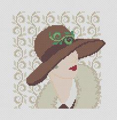 0 point de croix profile de femme au chapeau - cross stitch profile, side of a lady with hat