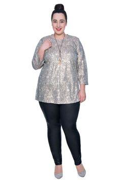 Złota elegancka bluzka we wzór - Modne Duże Rozmiary