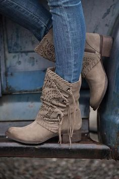 Hit The Road Cutout Tie Detail Suede Boots (Taupe) - NanaMacs.com - 1