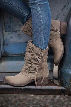 Hit The Road Cutout Tie Detail Suede Boots (Taupe) - NanaMacs.com - 1