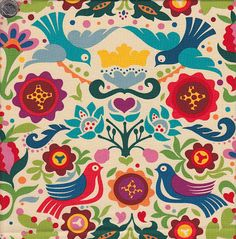 east european folklore folk art flower and bird fabric pattern Alexander Henry Folklorico La Paloma