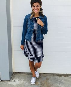 The cutest navy striped dress with jean jacket and converse. - Women Jean Jackets - Ideas of Women Jean Jackets Navy Dress Outfits, Modest Outfits, Casual Outfits, Fashion Outfits, Shoes With Navy Dress, Denim Dresses, Denim Outfits, Denim Skirts, Denim Overalls