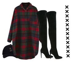 """""""thigh high"""" by sassy-black-snake-with-no-venom ❤ liked on Polyvore featuring Gianvito Rossi, cute, like, Boots, plaid and Fall2016"""