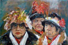 Vriendinnen kijken optocht, acryl op canvas, Hendrik Boot