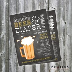 Diapers for Dad, Burgers, Beer & Diapers, Man Shower, Daddy-To-Be Baby Shower Invite