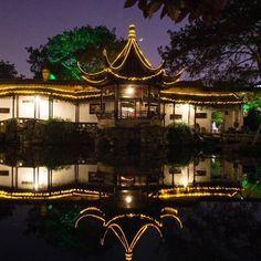 Vista nocturna de Suzhou