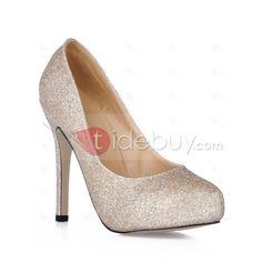 Brillantes Zapatos de Noche/Prom Dorados Tacones de Aguja Superior Tipo Dedo del Pie Cerrado