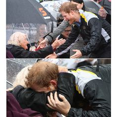They say actions speak louder than words and sometimes a hug can perfectly communicate how you are feeling in times of sadness or celebration. Although it isn't standard protocol, every now and again even royals break the rules and lean in for the embrace. We've put together a gallery of our favorite pictures of royals opening their arms wide. Not even the rain could put a damper on this sweet embrace between Prince Harry and 97-year-old Daphne Dunne during the royal's June 2017 visit to…