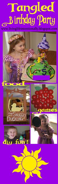 Tangled Birthday Party! Super cute tower cake, adorable decorations, creative party games, diy party favors, and more! SUPER cute!