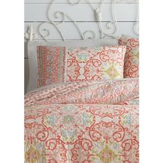 Jessica Simpson Multi Alila Std Sham (52 CAD) ❤ liked on Polyvore featuring home, bed & bath, bedding, bed accessories, multi, quilted bedding, medallion bedding and pastel bedding