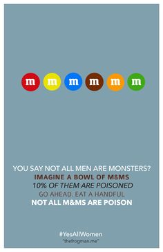 WTF?! That sounds like I should just swear off M and Ms, altogether--better safe than sorry, right! Whatta load of man-hating crap! #misandry #patriarchy  http://37.media.tumblr.com/ad0291cd4a223d4f64cc910867db2e8d/tumblr_n68u22SsA31r93pjbo2_1280.png