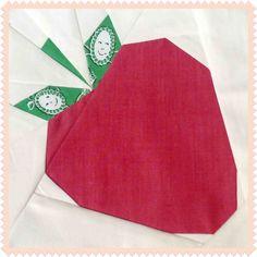 "The Cutest ""Strawberry Ichigo"" Quilt Block Pattern Paper Piecing Patterns, Quilt Patterns, Quilting Ideas, Alphabet Quilt, Foundation Paper Piecing, English Paper Piecing, Mug Rugs, Red Fabric, Pattern Blocks"