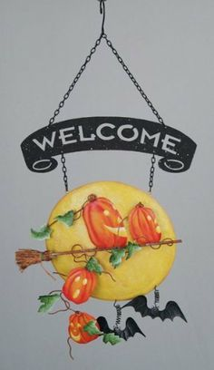 """Halloween Welcome Sign - Escape From Pumpkin Patch - Metal 14"""" by Popular. $7.99. Escape from pumpkin patch Welcome Sign is the perfect Halloween accent item.. Metal Welcome sign features pumpkins riding a witches broom in front of full moon.. Dimensions: 10.5 inches wide x 14 inches high. A fun way to welcome guests during the Halloween season.. This adorable escape from pumpkin patch Welcome Sign is the perfect Halloween accent item.  Metal Welcome sign features pumpkins rid..."""