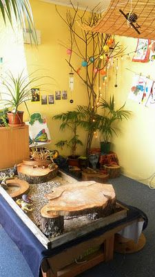 """For sensory play. Be sure to use a translation option when you check out these Reggio inspired classroom pictures. This pin is not """"endorsed"""" by Bright Horizons, but pinned as an idea worth sharing. Classroom Setting, Classroom Setup, Classroom Design, Classroom Hacks, Reggio Emilia Classroom, Reggio Inspired Classrooms, Kindergarten Montessori, Preschool Classroom, Sensory Table"""