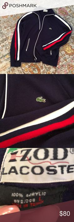 Vintage Lacoste jacket This is an authentic VINTAGE Izod Lacoste track jacket. Navy with red and white stripes on the arms. All zippers work. Lacoste Jackets & Coats Lightweight & Shirt Jackets