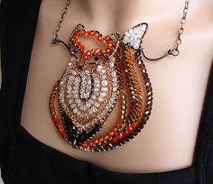 Fiery Fox Necklace  Copper Moonstone Crystal by sparkflight, $350.00  Ruth Jensen makes sculptural miracles with wire.