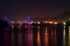 Pomeroy, Ohio bridge at night