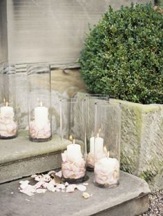 Candles with pink petals: http://www.stylemepretty.com/2014/05/23/glamorous-pink-english-wedding/ | Photography: Polly Alexandre Photography - http://alexandreweddings.com/